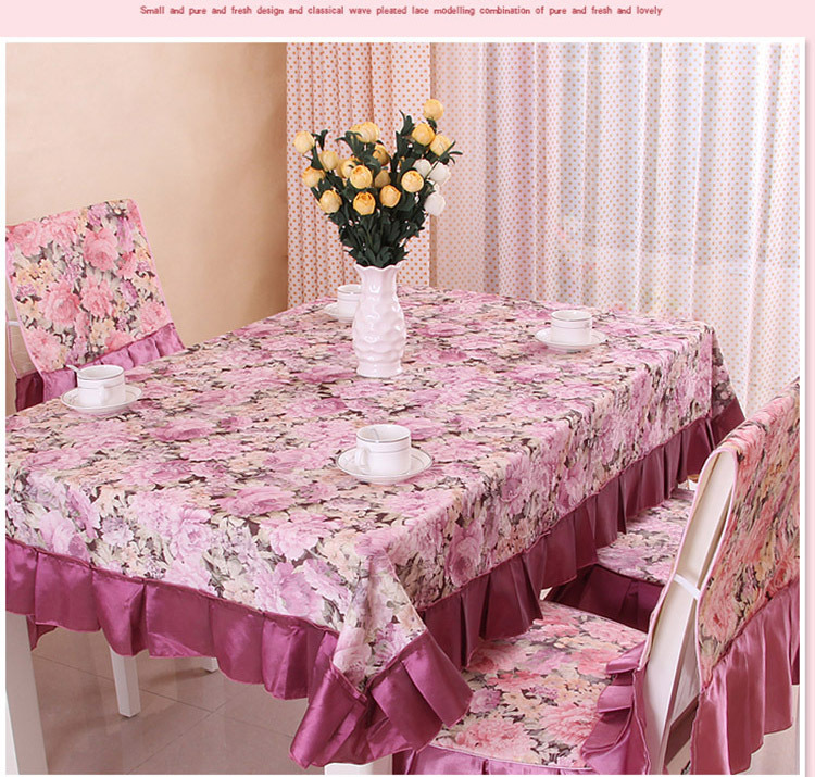 New Chinese Classic Floral Design Tablecloth Set Cusion